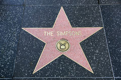 La estrella del Simpsons en el paseo de Hollywood de la fama Imagenes de archivo