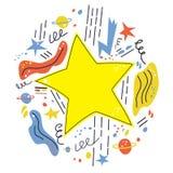 La estrella estalló el espacio, cuando usted desea para arriba en una estrella Ilustración del vector stock de ilustración