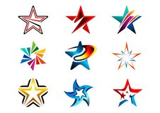 La estrella, logotipo, sistema creativo del extracto protagoniza la colección del logotipo, protagoniza el elemento del diseño de Fotos de archivo