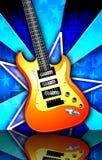 La estrella repartió la ilustración anaranjada de la guitarra de la roca Imágenes de archivo libres de regalías
