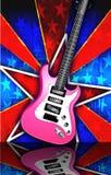 La estrella repartió la ilustración rosada de la guitarra de la roca Foto de archivo libre de regalías