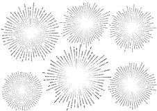 La estrella retra elegante estalló el coll aislado colección de los rayos de la explosión Fotos de archivo libres de regalías