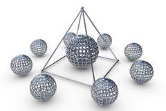La estructura molecular rindió la pirámide Imagen de archivo libre de regalías