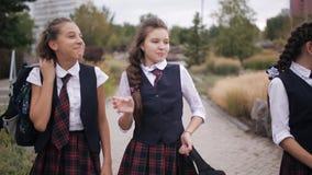 La estudiante que lleva el mismo uniforme escolar con las mochilas camina a través del parque que ríe y que habla metrajes