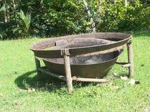 La estufa vieja de la placa Fotografía de archivo