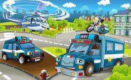 La etapa de la historieta con diversa policía trabaja a máquina - los camiones moto y helicóptero - escena colorida y alegre