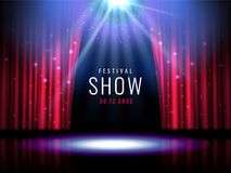 La etapa del teatro con la cortina roja y el proyector Vector la plantilla festiva con las luces y escena Diseño del cartel para  libre illustration