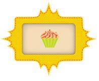 La etiqueta amarilla para la torta Ilustración del vector stock de ilustración