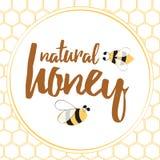 La etiqueta con la abeja dibujada mano y el panal hecho en brght amarillean color Fotos de archivo