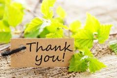¡La etiqueta con le agradece! Imágenes de archivo libres de regalías