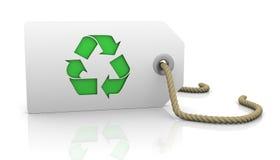 La etiqueta con recicla símbolo Imagen de archivo