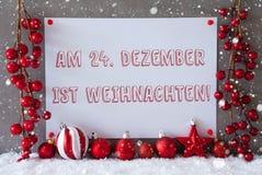 La etiqueta, copos de nieve, bolas, Weihnachten significa la Navidad Imagenes de archivo