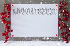 La etiqueta, copos de nieve, decoración de la Navidad, Adventszeit significa a Advent Season Imagenes de archivo