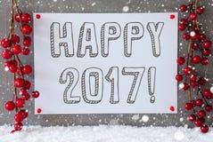 La etiqueta, copos de nieve, decoración de la Navidad, manda un SMS a 2017 feliz Imagen de archivo