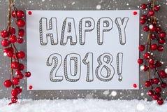 La etiqueta, copos de nieve, decoración de la Navidad, manda un SMS a 2018 feliz Foto de archivo