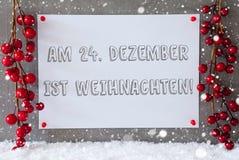 La etiqueta, copos de nieve, decoración, Weihnachten significa la Navidad Imagen de archivo libre de regalías