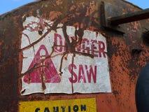 La etiqueta de advertencia en el atajo Slasher del registro consideró Fotografía de archivo