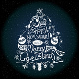 La etiqueta de la Navidad y del Año Nuevo, decoración para usted diseña Imagen de archivo