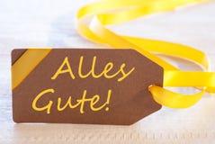 La etiqueta de Pascua, Alles Gute significa recuerdos Fotografía de archivo libre de regalías