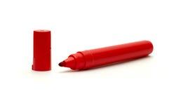 La etiqueta de plástico roja aislada Imagen de archivo