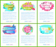La etiqueta del anuncio de la venta de la primavera etiqueta a Tulip Bouquet libre illustration
