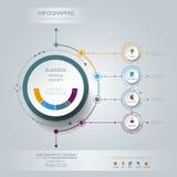 La etiqueta del círculo del infographics 3D del vector con las flechas firma y 4 opciones Foto de archivo