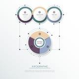 La etiqueta del círculo del infographics 3D del vector con las flechas firma y la opción 3 Foto de archivo
