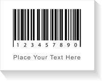 La etiqueta del código de barras con la sombra y el subtítulo ponen su texto aquí Vec Fotos de archivo