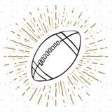 La etiqueta del vintage, fútbol dibujado mano, bosquejo del balón de fútbol, grunge texturizó la insignia retra, impresión de la  Imagen de archivo libre de regalías