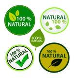 La etiqueta engomada fijó: el 100% natural stock de ilustración