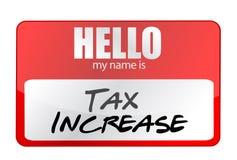 La etiqueta engomada roja hola mi nombre es concepto del aumento del impuesto Fotos de archivo libres de regalías