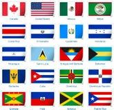 La etiqueta engomada señala América por medio de una bandera Fotos de archivo libres de regalías