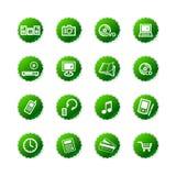 La etiqueta engomada verde e-hace compras los iconos Fotos de archivo libres de regalías