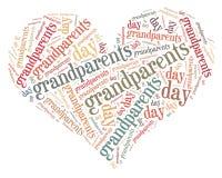 La etiqueta o el día de los abuelos de la nube de la palabra se relacionó en la forma del corazón Fotos de archivo libres de regalías