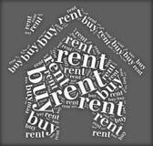 La etiqueta o la compra de la nube de la palabra o el dilema del alquiler se relacionaron en la forma de la casa Imagen de archivo