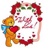 La etiqueta oval con las rosas rojas y el oso de peluche lindo que sostiene un grande oyen Imagen de archivo