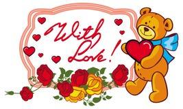 La etiqueta oval con las rosas rojas y el oso de peluche lindo que sostiene un grande oyen Foto de archivo