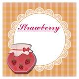 La etiqueta para la mermelada de fresa Foto de archivo libre de regalías
