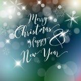 La etiqueta retra de la Navidad del vintage del vector en azul empañó el fondo Fotografía de archivo libre de regalías