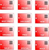 La etiqueta y la etiqueta engomada rojas fijaron con claves de barras y abstrac Fotos de archivo