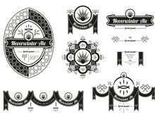La etiqueta y los baners originales de la cerveza diseñan con los elementos de la fantasía Foto de archivo