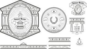 La etiqueta y los baners originales de la cerveza diseñan con los elementos romanos antiguos Imagenes de archivo