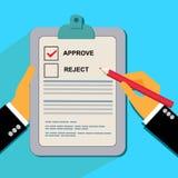 La evaluación, aprueba, comprueba, diseño plano para saber si hay web Imagen de archivo libre de regalías