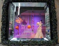 La exhibición de la ventana de los días de fiesta en los sacos Fifth Avenue tituló la tierra del ` del ` de 1000 placeres en Manh Imagen de archivo libre de regalías