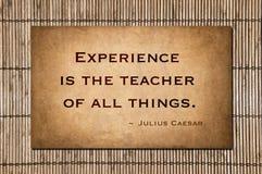 La experiencia es el profesor de todas las cosas Foto de archivo libre de regalías
