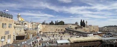 La Explanada de las Mezquitas, pared occidental, puente de Mughrabi, mezquita del al-Aqsa Imagen de archivo libre de regalías