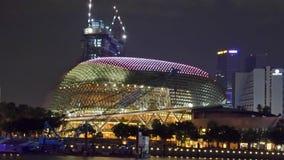 La explanada en la noche de Singapur Fotos de archivo