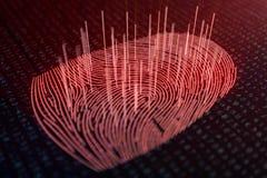 la exploración de la huella dactilar del ejemplo 3D provee del acceso de la seguridad la identificación de la biométrica El corta ilustración del vector