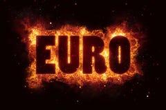 La explosión ardiente del texto del fuego de la quemadura euro de las llamas estalla ilustración del vector
