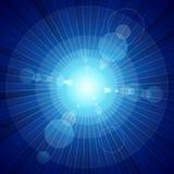 La explosión de color azul de la luz y la lente señalan por medio de luces ilustración del vector
